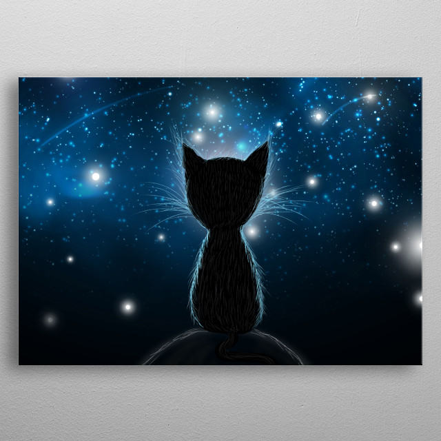 silhouette cat gazing in the stars, dreaming night metal poster