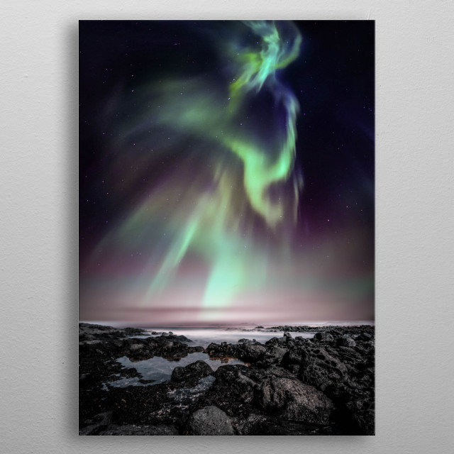 Aurora and the sea metal poster