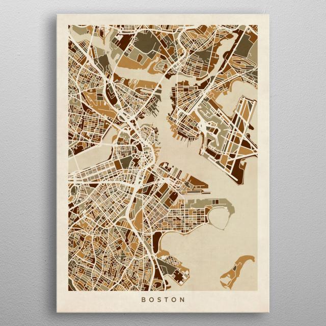 Boston Massachusetts Map By Michael Tompsett Metal Posters