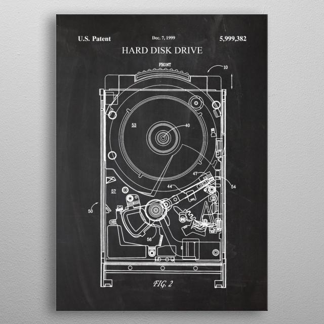 1999 Hard Disk Drive - Patent Drawing metal poster
