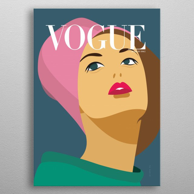 Minimalista Cover illustration inspired on VOGUE Cover magazine from March 1962. metal poster