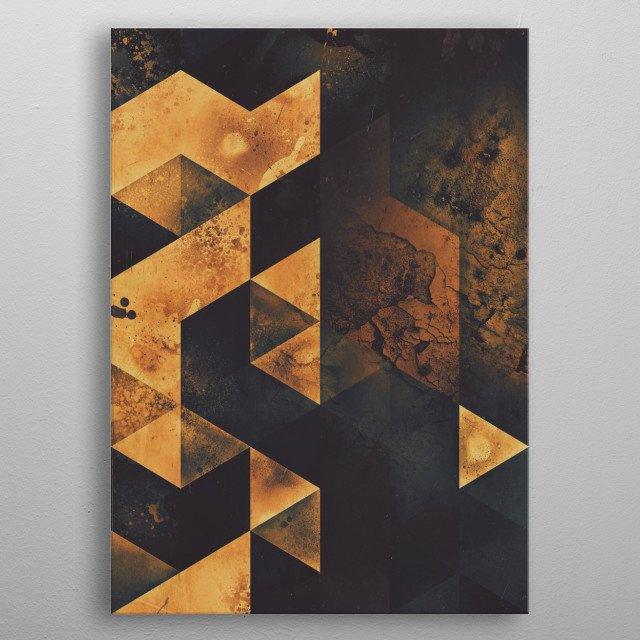 Triangles cracked, like the building blocks of a crumbling edifice. metal poster