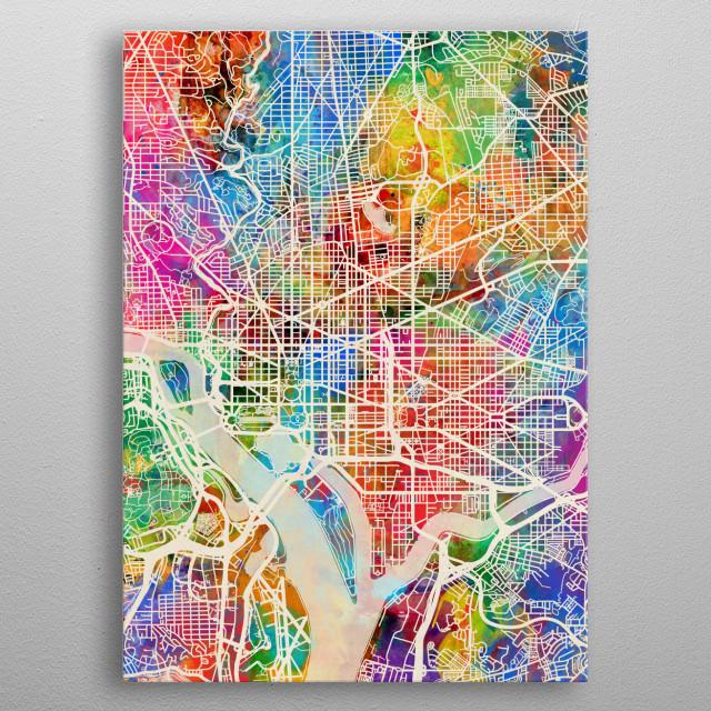 Washington Dc Map By Michael Tompsett Metal Posters Displate