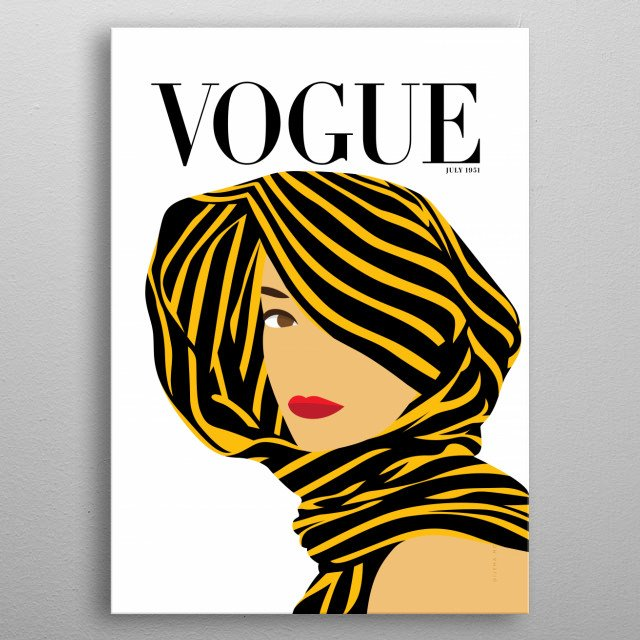 Minimalista Cover illustration inspired on VOGUE Cover magazine from July 1951. metal poster
