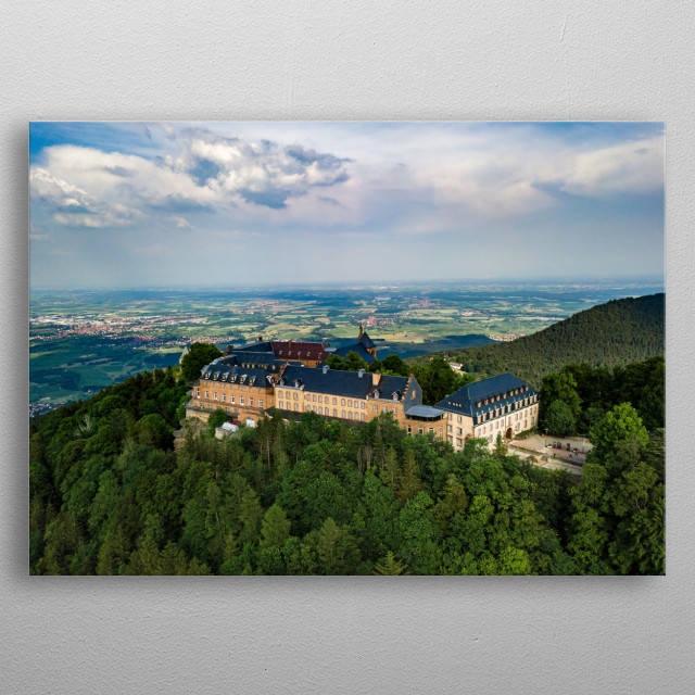 Aerial drone view of Mont Sainte Odile Abbey on the top of the hill, Alsace, France metal poster