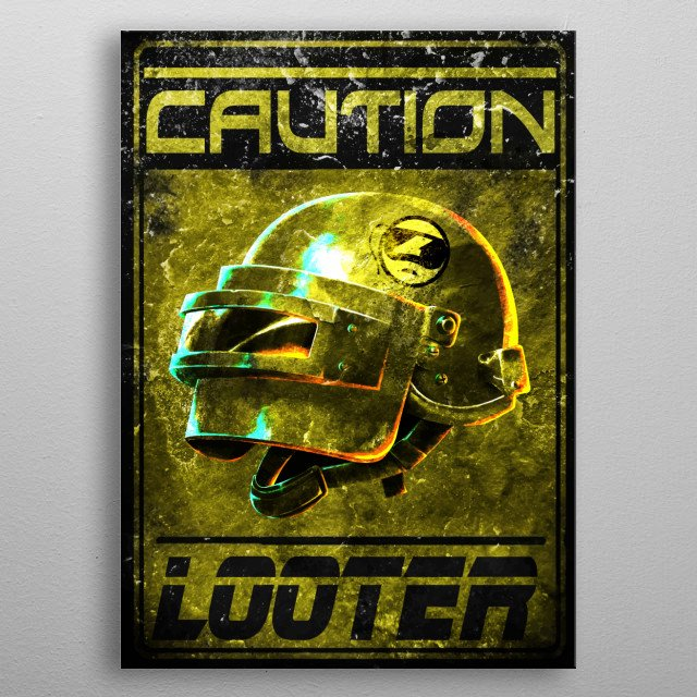 Gaming cult design battle royale looter metal poster