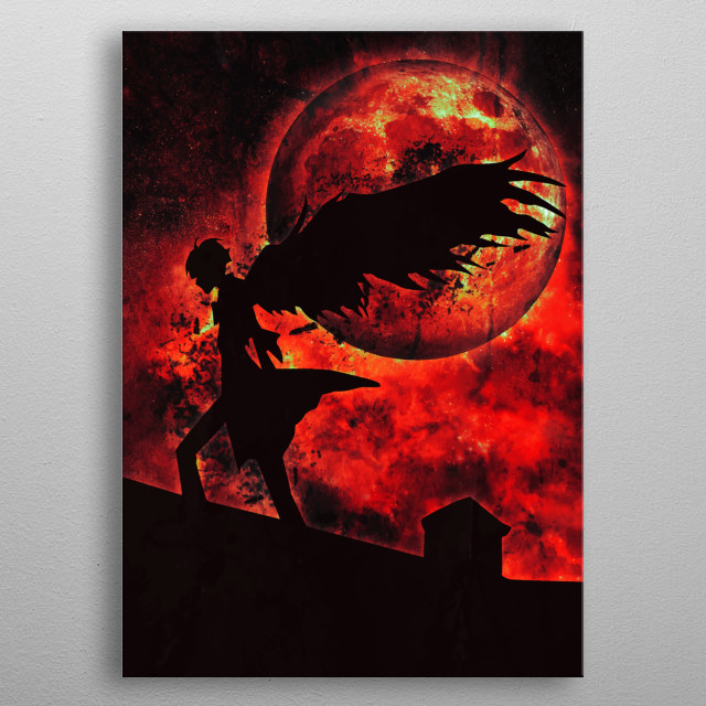 Loki ragnarok anime red moon tribute metal poster