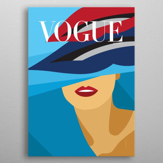 Minimalista Cover illustration inspired on VOGUE Cover magazine from June 1977. metal poster