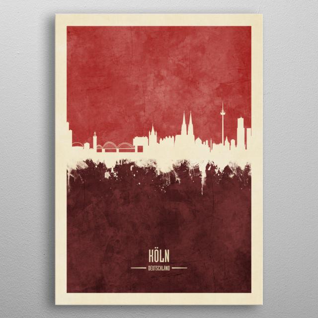 Watercolor art print of the skyline of Cologne, Germany (Köln)  metal poster