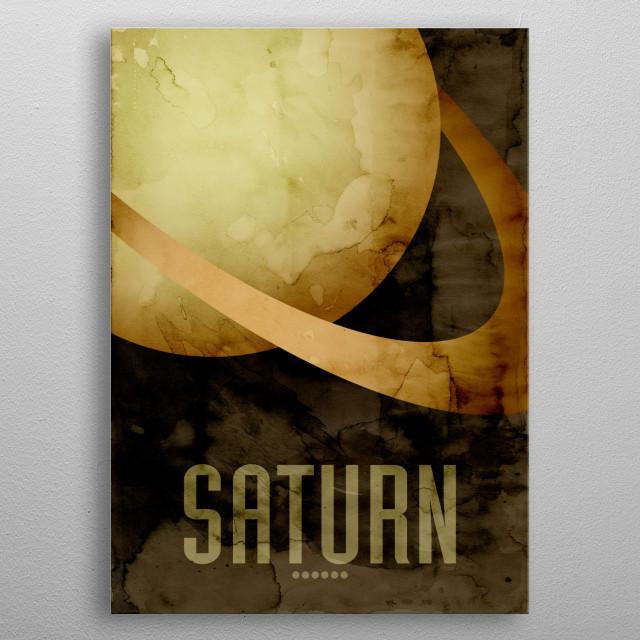 Watercolor art print of the Planet Saturn metal poster