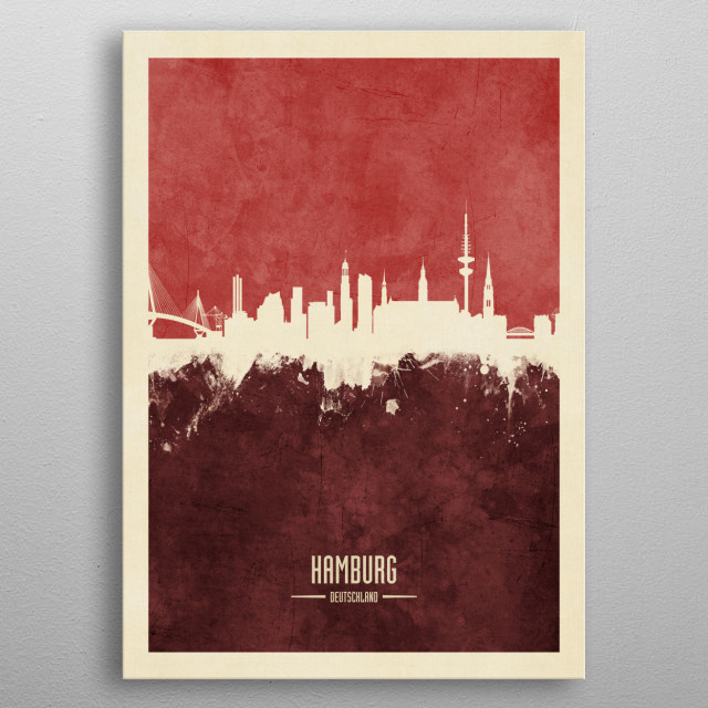 Watercolor art print of the skyline of Hamburg, Germany metal poster