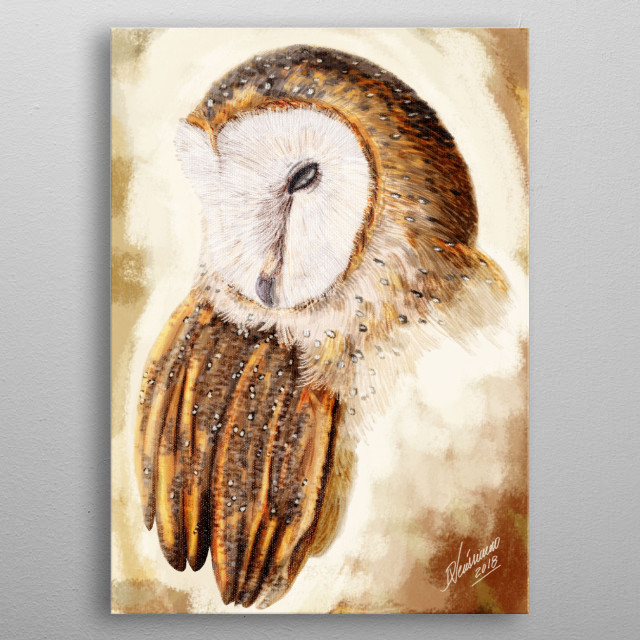 A digital painting of an owl - first version metal poster