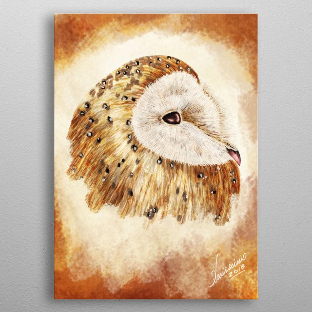 A painting of an owl - fifth version metal poster