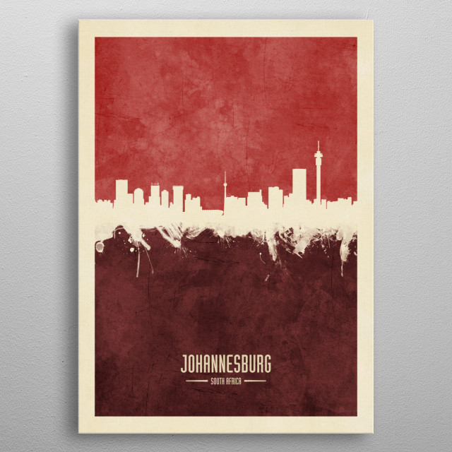 Watercolor art print of the skyline of Johannesburg, South Africa metal poster