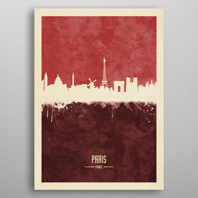 Watercolor art print of the skyline of Paris, France metal poster