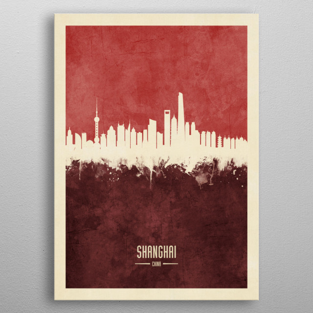 Watercolor art print of the skyline of Shanghai, China metal poster