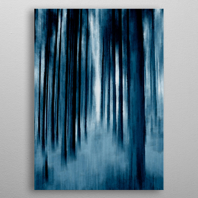 'Indigo Trees' was originally a photograph of a path through the trees on a lovely walk in Snowdonia, Wales,  metal poster