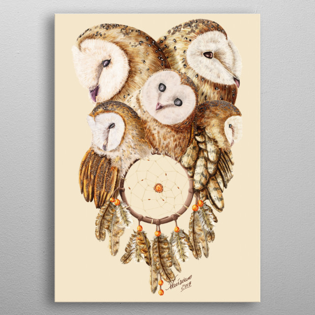A painting of five owls and a dreamcatcher. metal poster
