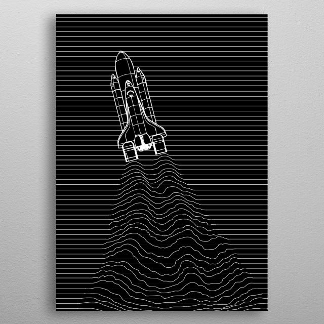Do you love Astronauts? This Astronaut Space Shuttle Minimalistic Displate is perfect for a Kid's Room or also Living Room metal poster