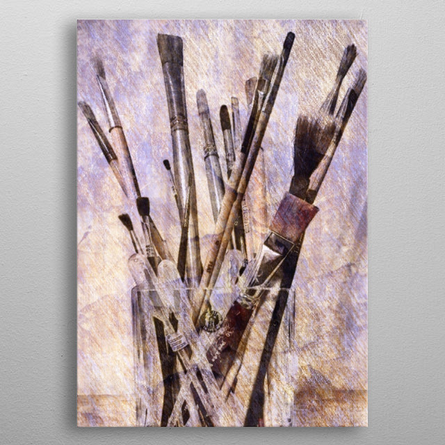Chunky glass vase full of my paintbrushes. metal poster