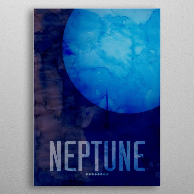 Watercolor art print of the Planet Neptune metal poster