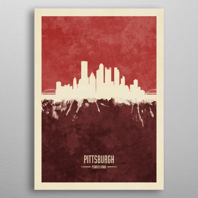 Watercolor art print of the skyline of Pittsburgh, Pennsylvania, United States metal poster