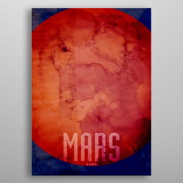 Watercolor art print of the Planet Mars metal poster