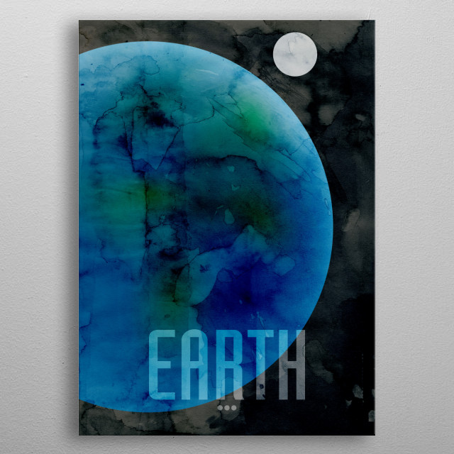 Watercolor art print of the Planet Earth metal poster
