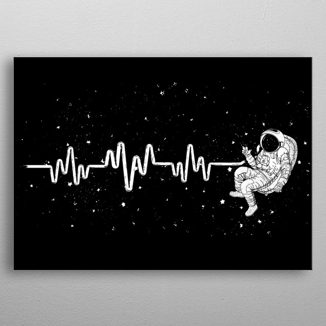 Do you love Astronauts? This Astronaut Space Shuttle Heartbeat Displate is perfect for a Kid's Room or also Living Room metal poster