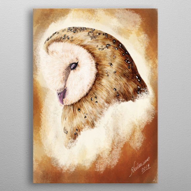 A painting of an owl - fourth version metal poster