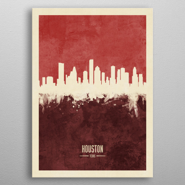 Watercolor art print of the skyline of Houston, Texas, United States metal poster
