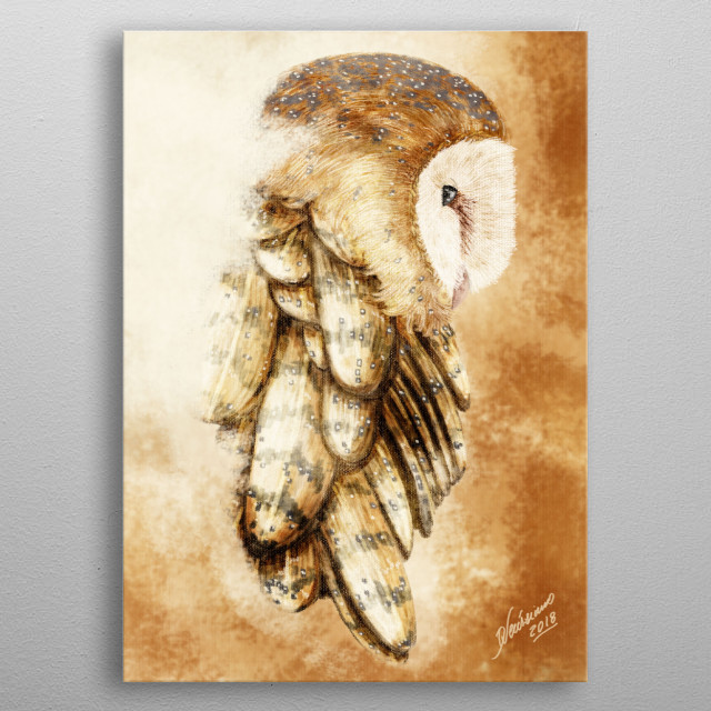 A painting of an owl - second version metal poster