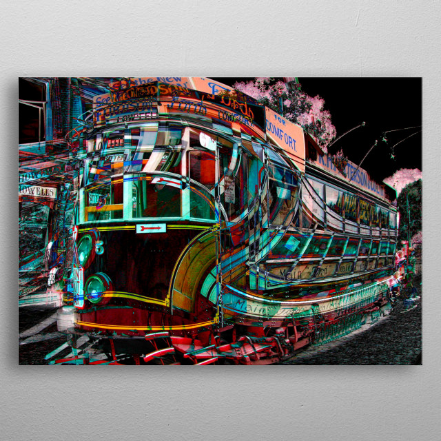 Abstract artwork created from an original photo taken at Crich Tramway museum in Derbyshire. metal poster