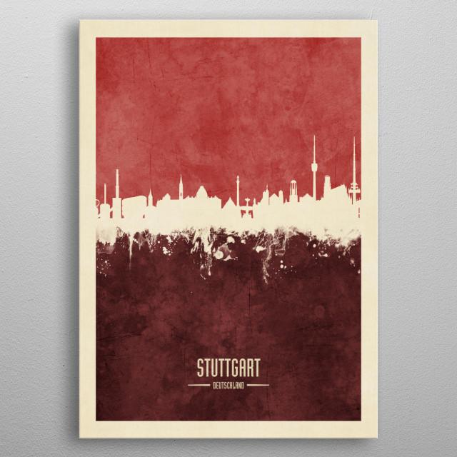 Watercolor art print of the skyline of Stuttgart, Germany  metal poster