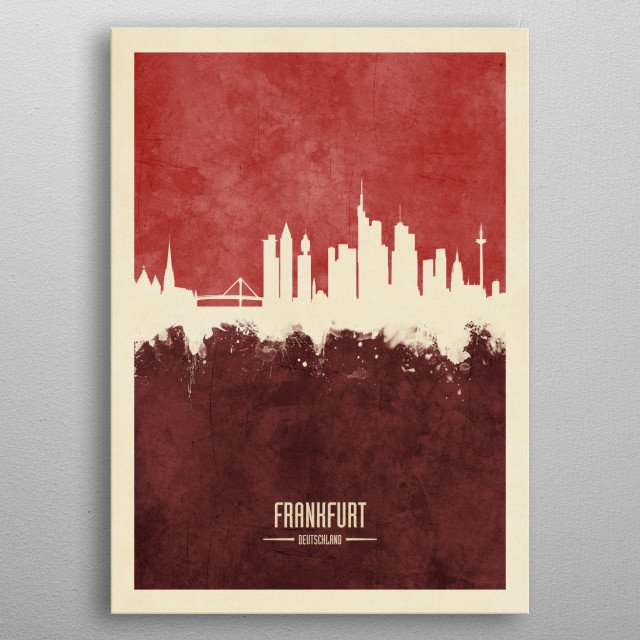 Watercolor art print of the skyline of Frankfurt, Germany  metal poster