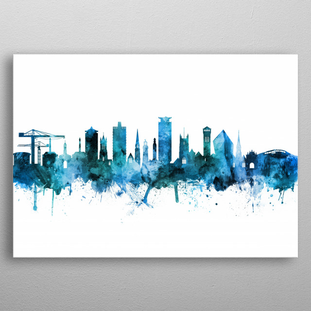 Watercolor art print of the skyline of Plymouth, England, United Kingdom metal poster