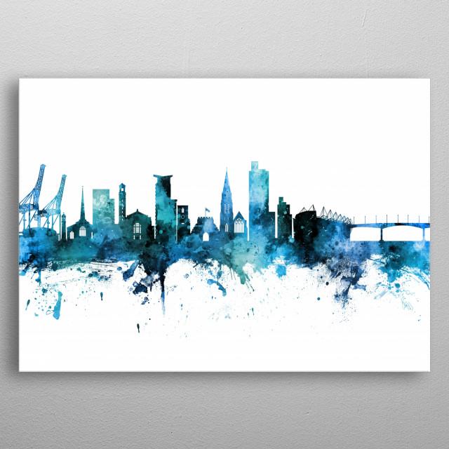 Watercolor art print of the skyline of Southampton, England, United Kingdom metal poster