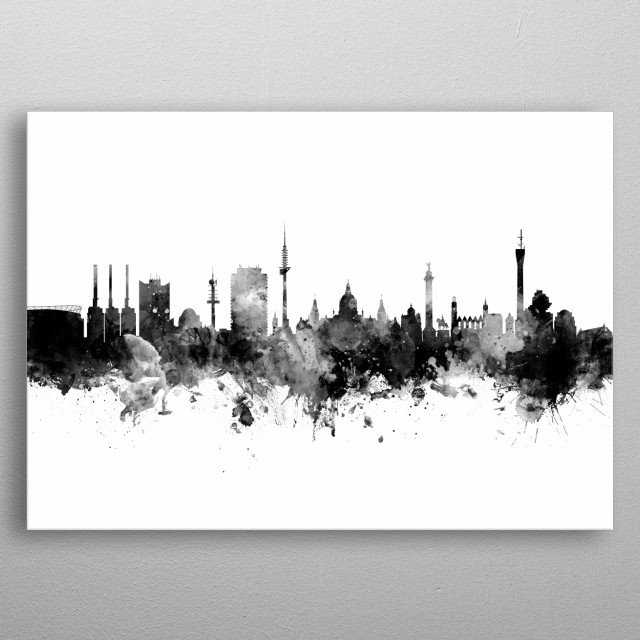 Watercolor art print of the skyline of Hannover, Germany  metal poster