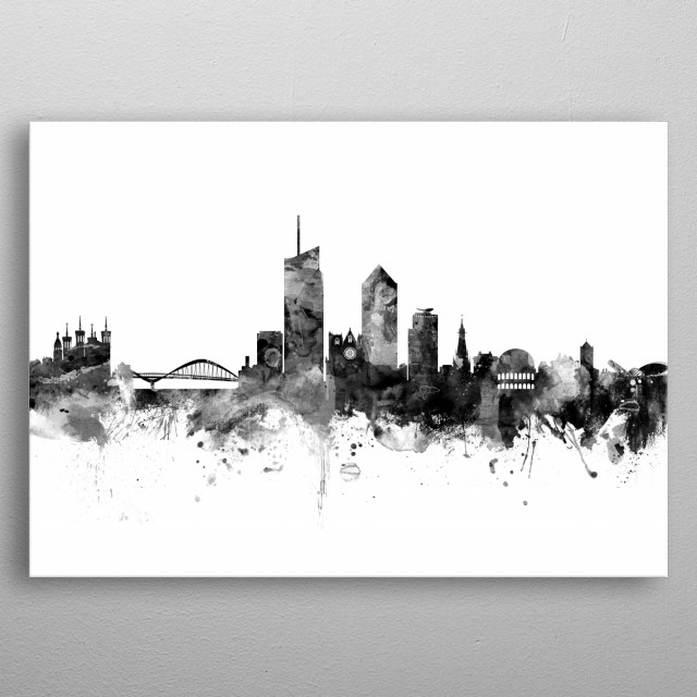 Watercolor art print of the skyline of Lyon, France metal poster