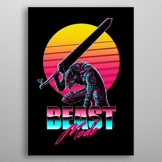 Berserk in 80's style metal poster