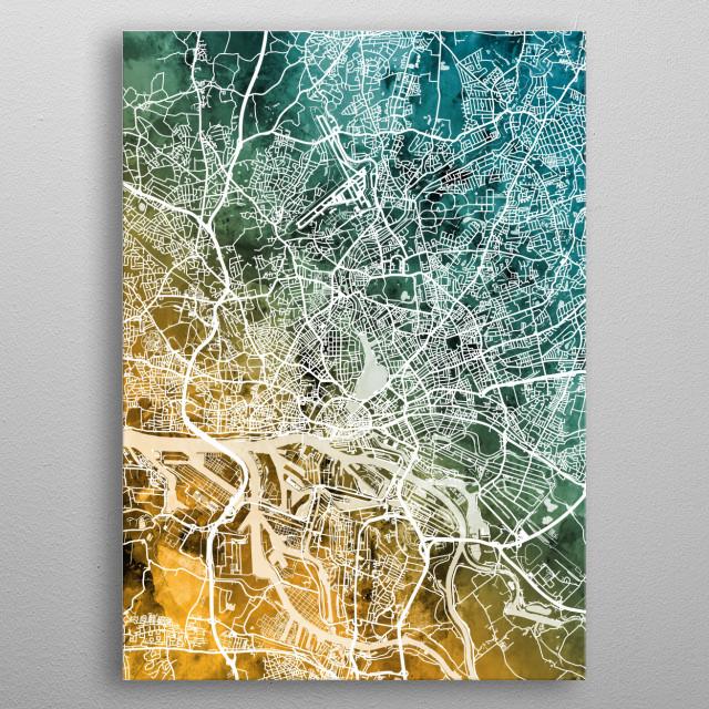 Watercolor street map of Hamburg, Germany metal poster