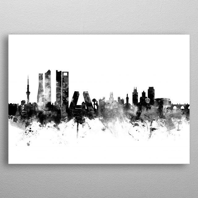 Watercolor art print of the skyline of Madrid, Spain metal poster