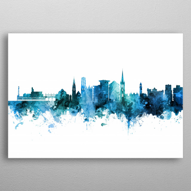 Watercolor art print of the skyline of Bournemouth, England, United Kingdom metal poster