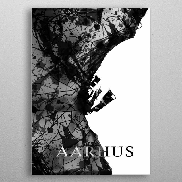 A map of Aarhus  metal poster