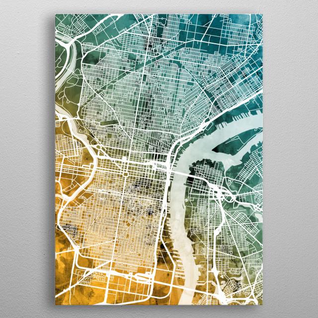 Watercolor street map of Philadelphia, Pennsylvania, United States metal poster