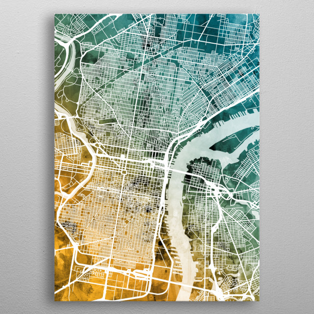 Watercolor street map of Philadelphia, Pennsylvania, United States metal poster