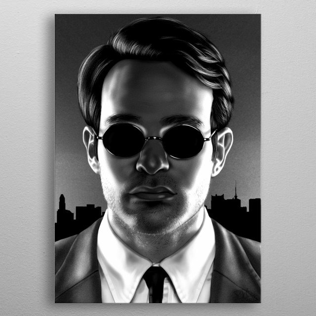 A digital painting of Charlie Cox inspired by his role as Daredevil metal poster