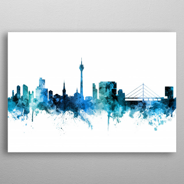 Watercolor art print of the skyline of Düsseldorf, Germany  metal poster