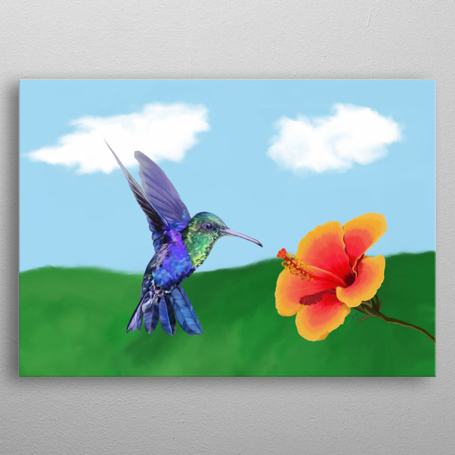 Digital oil painting of a hungry hummingbird about to feed on its prey; a beautiful, colourful hibiscus flower! metal poster