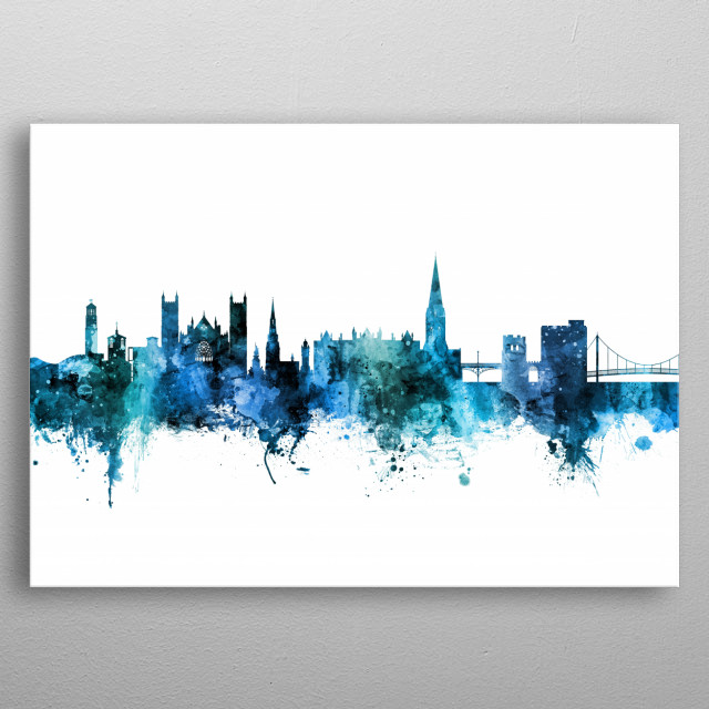 Watercolor art print of the skyline of Exeter, England, United Kingdom metal poster